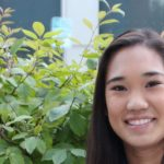 Jennifer Chin biochem major sitting outside Barnes and Nobles