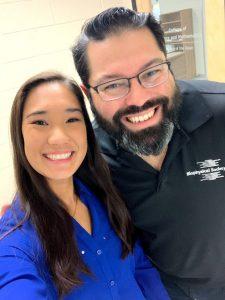 Rowan alumna Jennifer Chin takes a selfie with Dr. Gregory Caputo