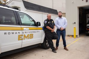 Jeff Dever, an alumnus of the Disaster Preparedness and Emergency Management program, reunites with a former mentor from his undergraduate days with Rowan EMS.