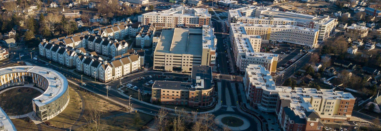 Aerial shot of Rowan Boulevard