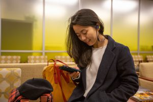 Nam Phuong Nguyen Hoang listens to podcasts on her commute to Rowan's campus
