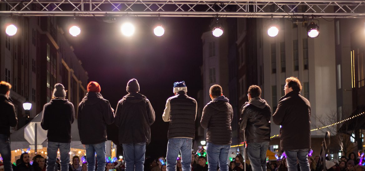 An outdoor shot from the annual Boro in Lights Festival