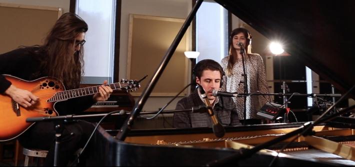 rowan students making music in the studio
