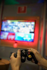 A close up shot of a gamecube controller