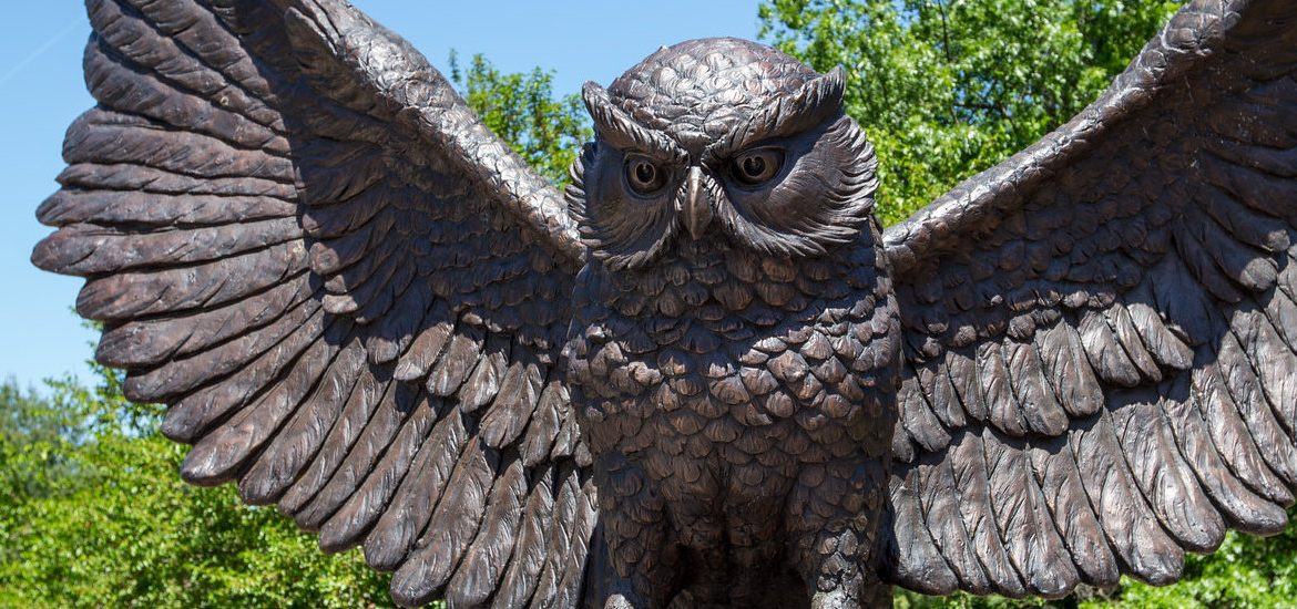 Rowan Owl statue, near where Ben and Zazu's photos were taken