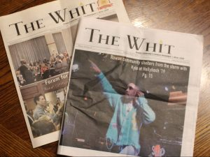 Copies of The Whit, Rowan's student newspaper where Journalism major Iridian works as a copy editor