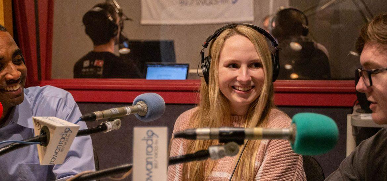 Katie (in center) works with members of Rowan Radio