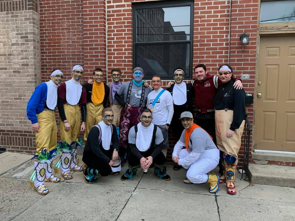 Rowan student TJ Ferry (third from left) with members of his Mummers team.