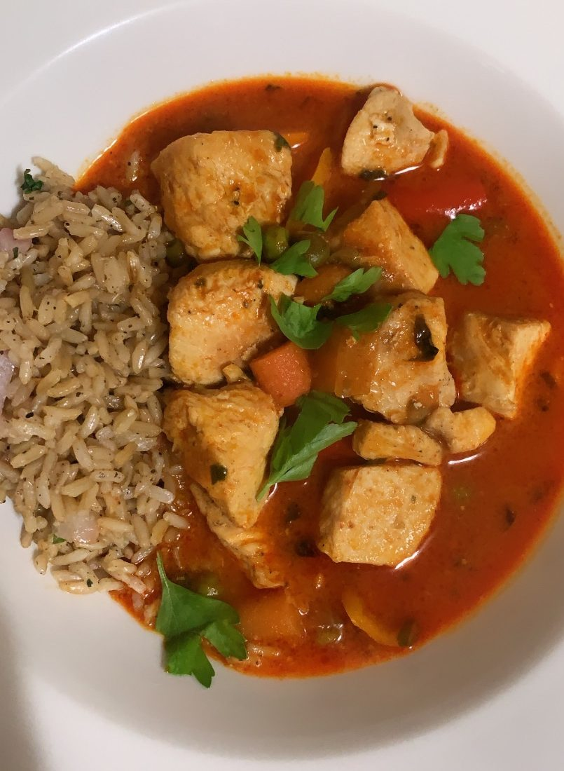 Photo of cooked chicken Thai curry.