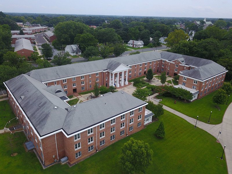 A drone view of Chestnut Hall which shows the capital C shape.