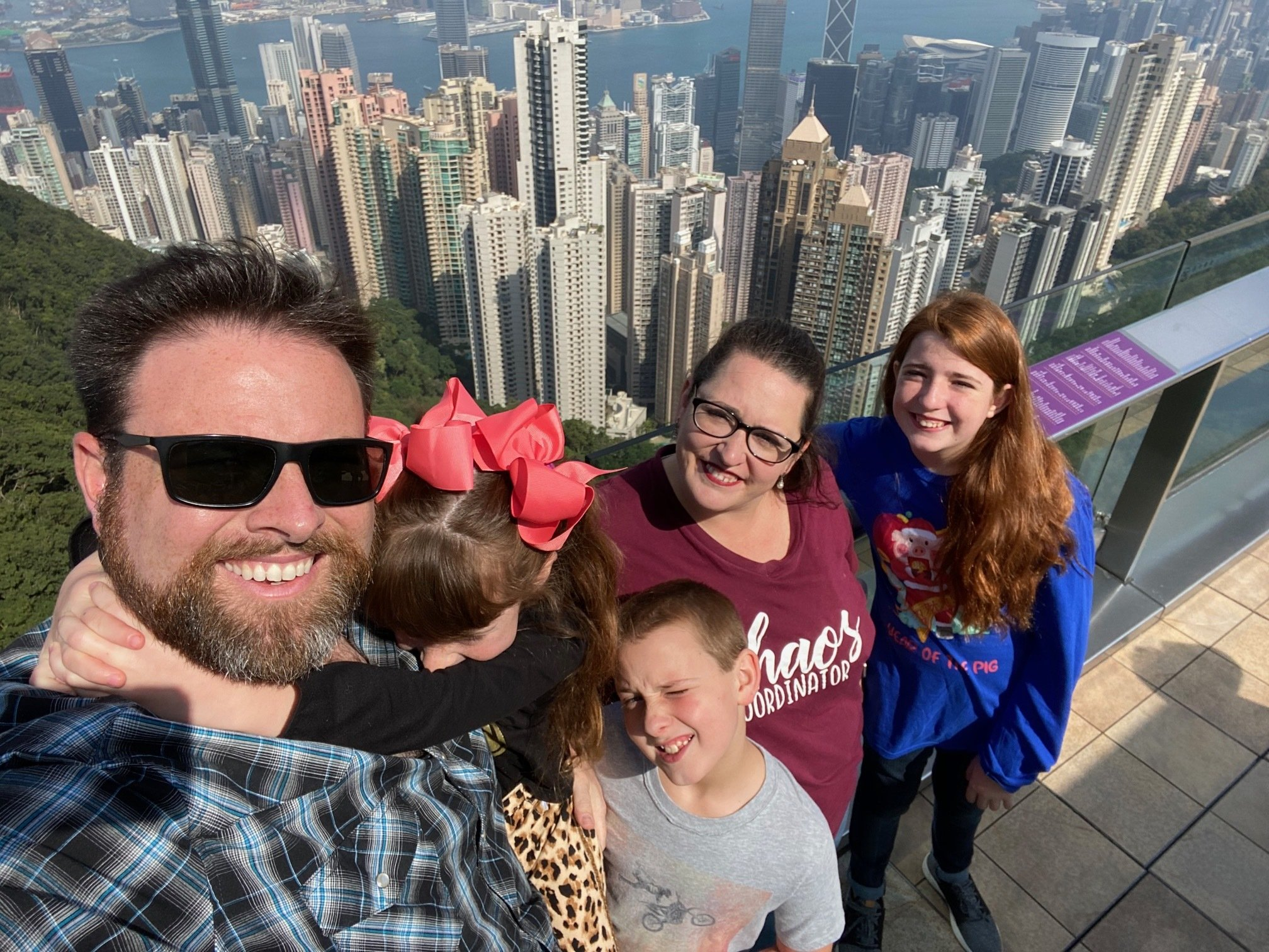 Jeremiah takes a selfie with his family in Hong Kong, Korea.