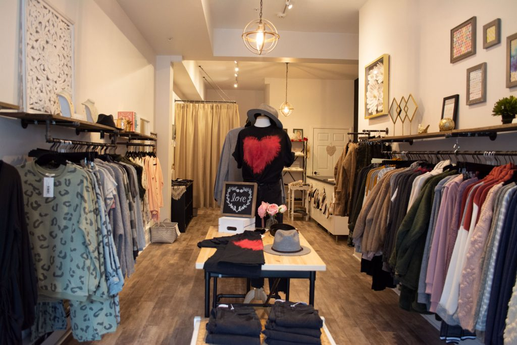 Interior shot of Maggie Paige Boutique in Pitman