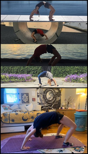 Photos of yoga positions contributed by Robyn Wright