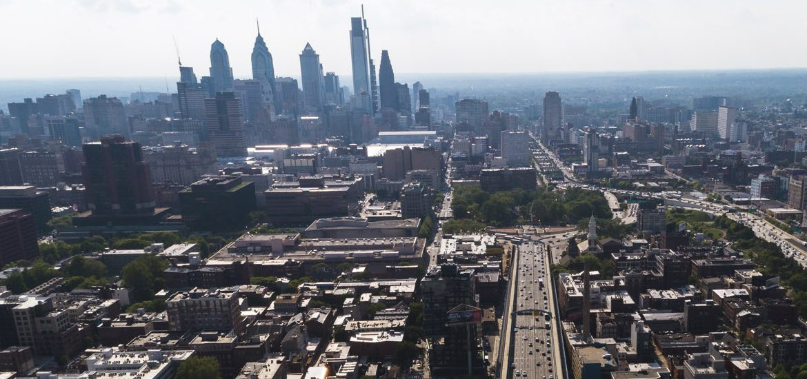 drone shot of Philadelphia skyline