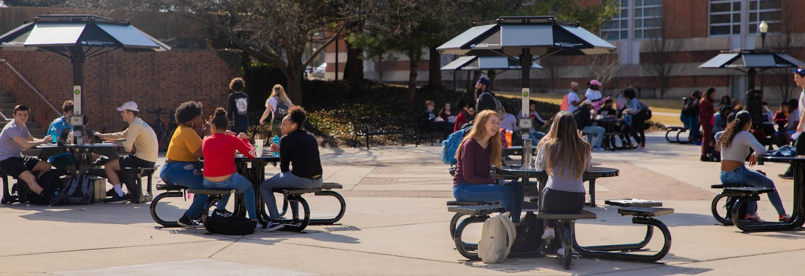 Photo of students outside of the Student Center.