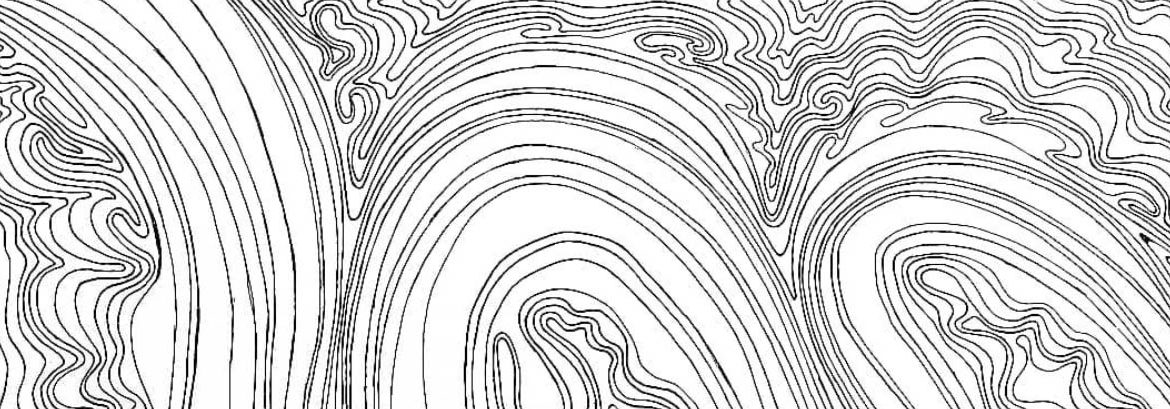 a swirly line drawing by Doug Jones, a Biomedical Art and Visualization student at Rowan University.