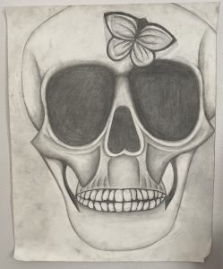 Sketch of human skull with a butterfly on it.