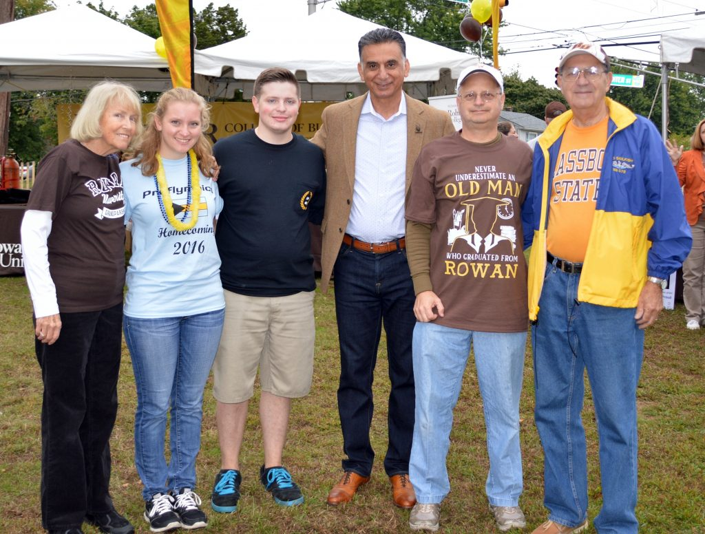 Victoria (second on the left) with her family members who attended Rowan with President Ali Houshmand.