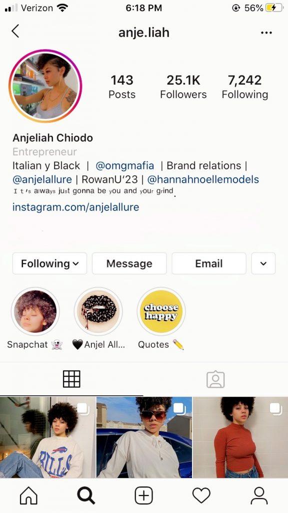Anjeliah Chiodo Instagram page
