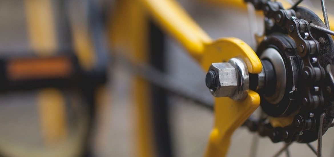 Close-up shot of yellow bicycle
