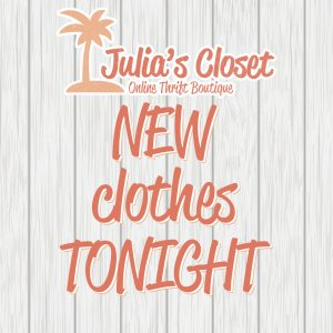 Orange, gray and white sales logo for Julia's closet, featuring a palm tree against a brick background, saying New clothes TONIGHT.