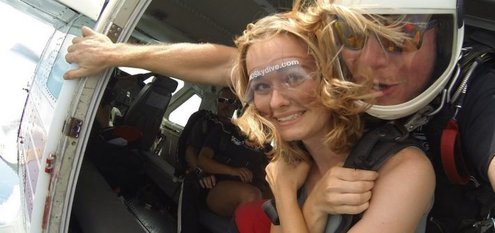 Molly about to jump out of an airplane.