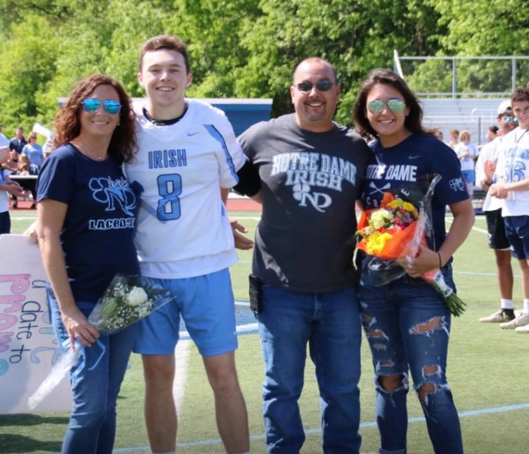 Caroline with her family at Notre Dame High School in Lawrenceville, NJ
