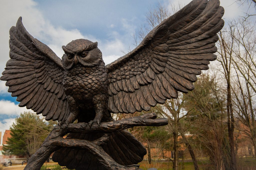 The Rowan owl statue outside of Robinson Hall.