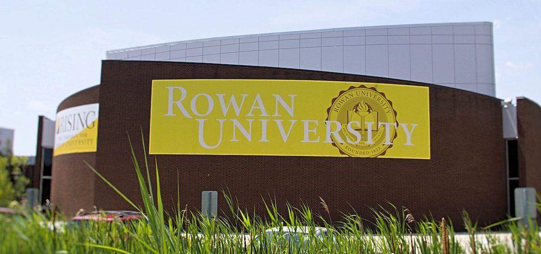 Rowan University banner outside of Wilson Hall.
