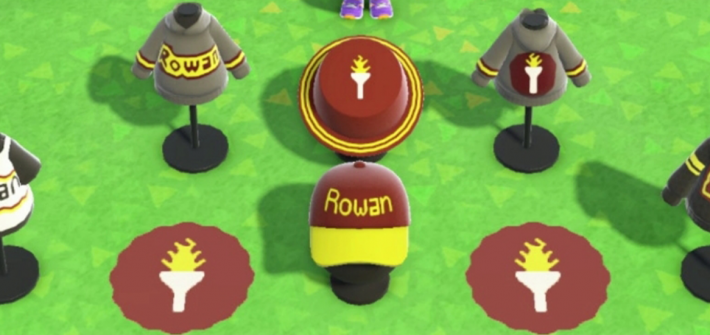 Screenshot of Animal Crossing and selection of Rowan merchandise selection