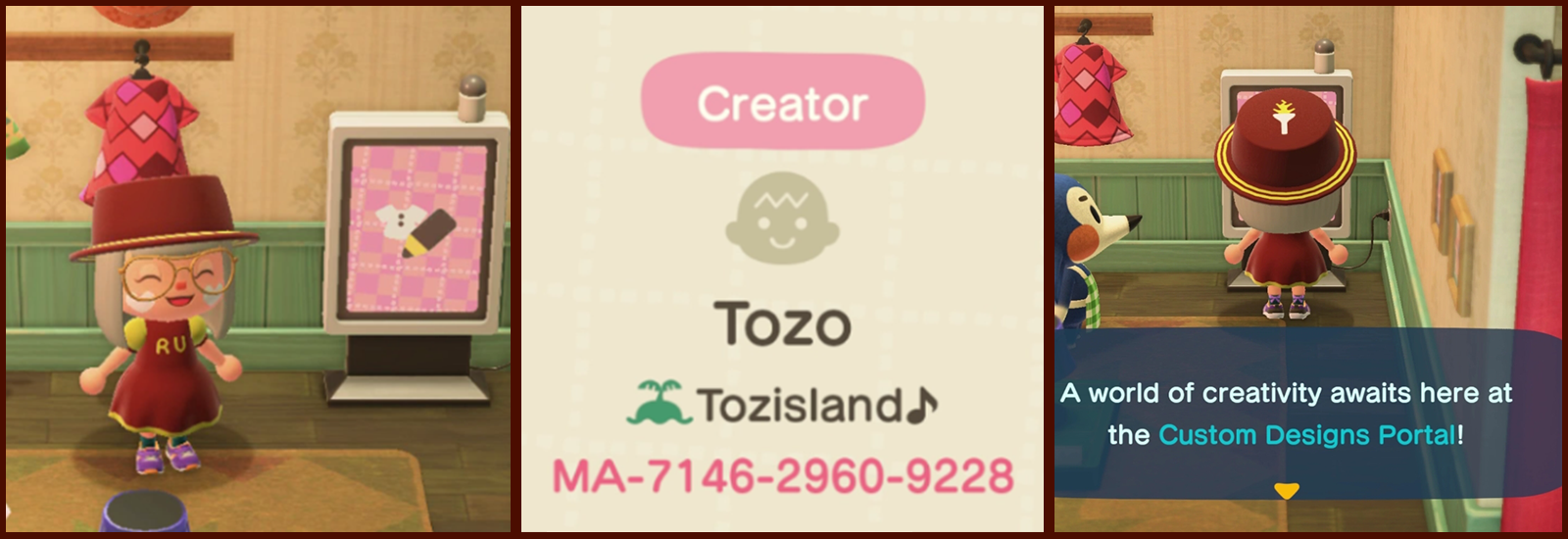 Able Sisters' shop and creator code inside Animal Crossing