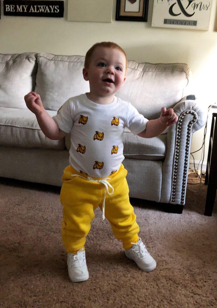 Ashley's son is wearing Rowan Prof gear