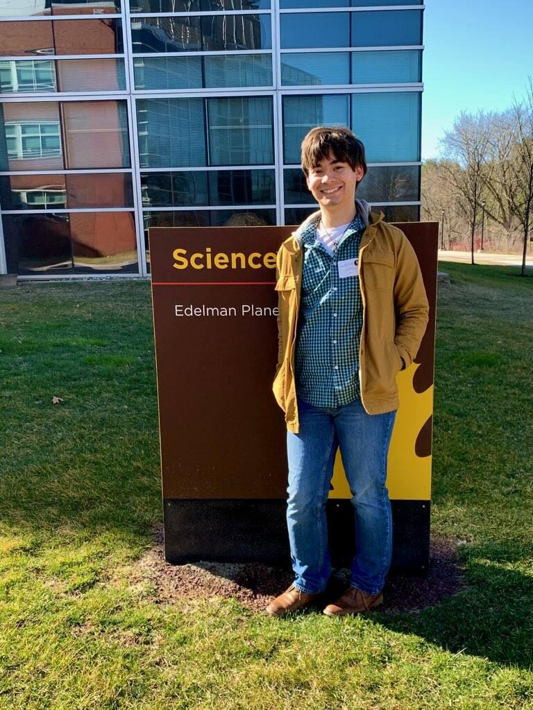 Joe visiting Rowan's Science Building.