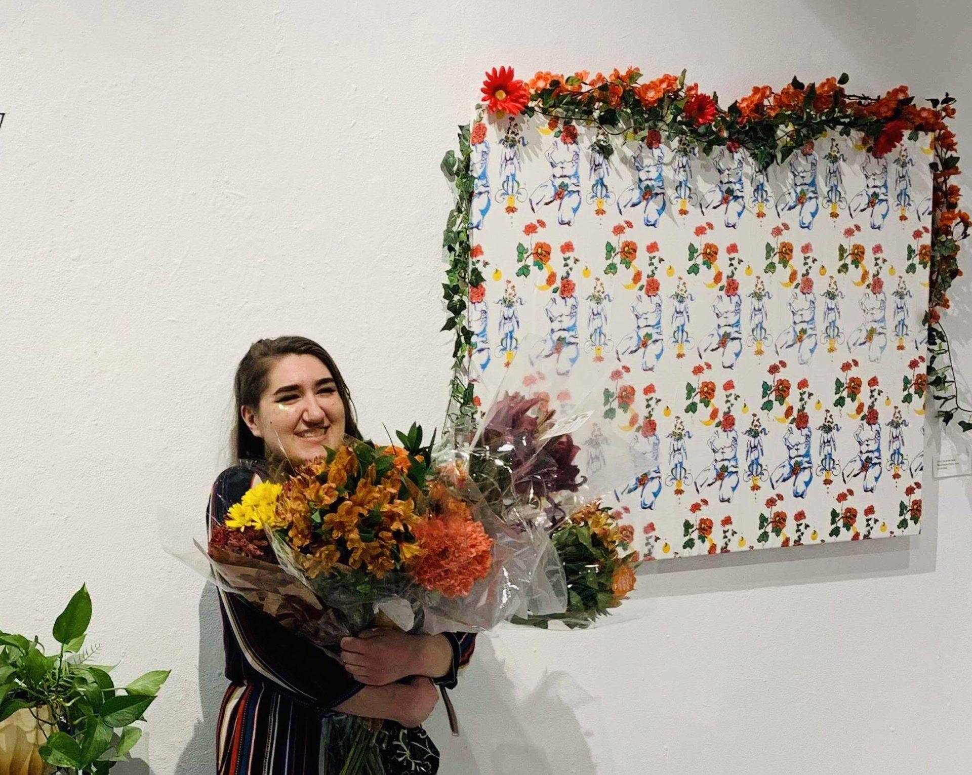 Leann Carlson at an artist's exhibition