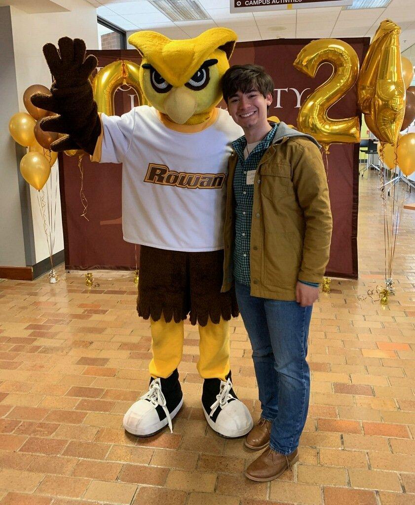 Joe and the Prof mascot Whoo RU.
