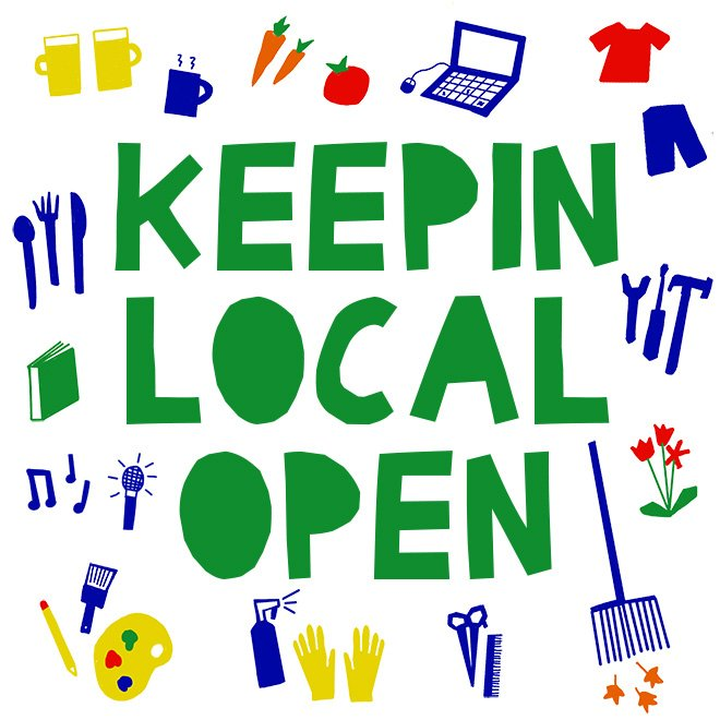"Green playful letters spell out ""Keepin Local Open."""