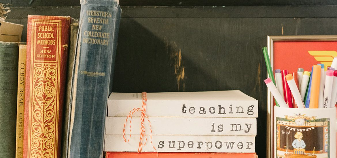 Stock image of a teacher's bookshelf