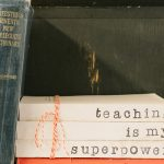 Stock image of a teacher's bookshelf