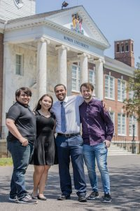 Computer science major Monica and her 3 friends in front of Bunce Hall.