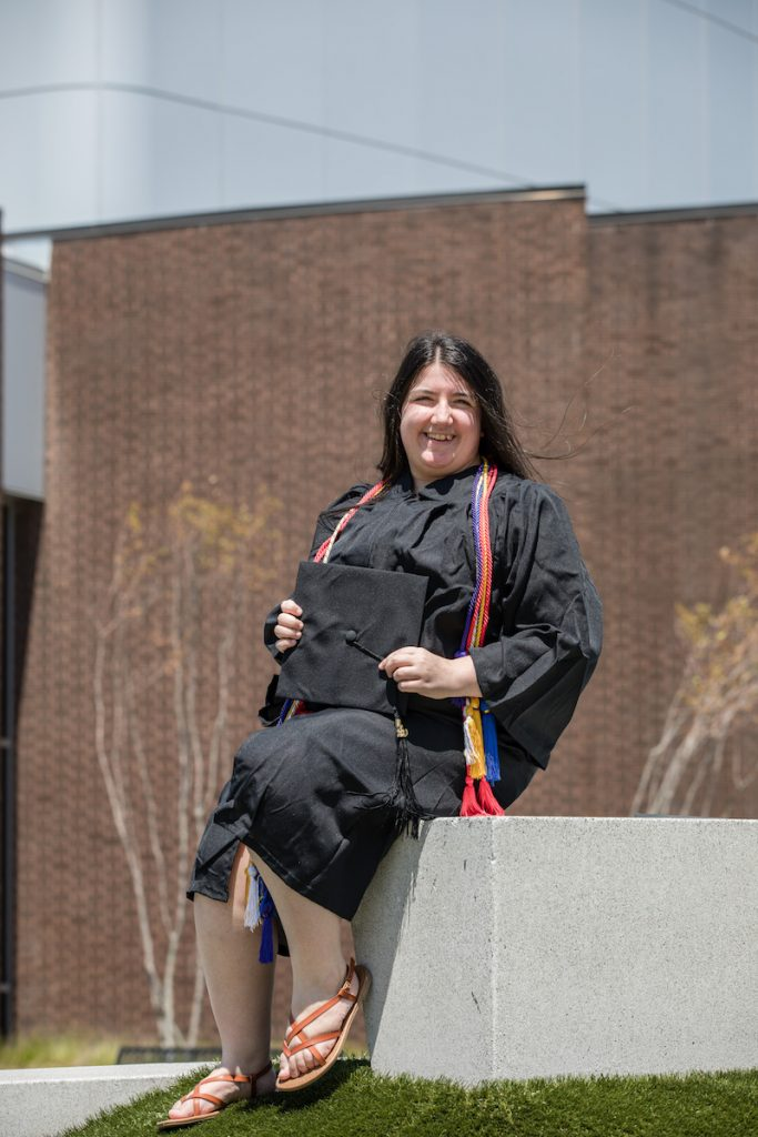 Accounting and finance double major Stephanie poses outside Wilson Hall.