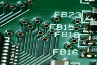 a close-up of a computer motherboard.