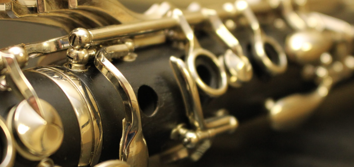 a close-up photo of a clarinet.