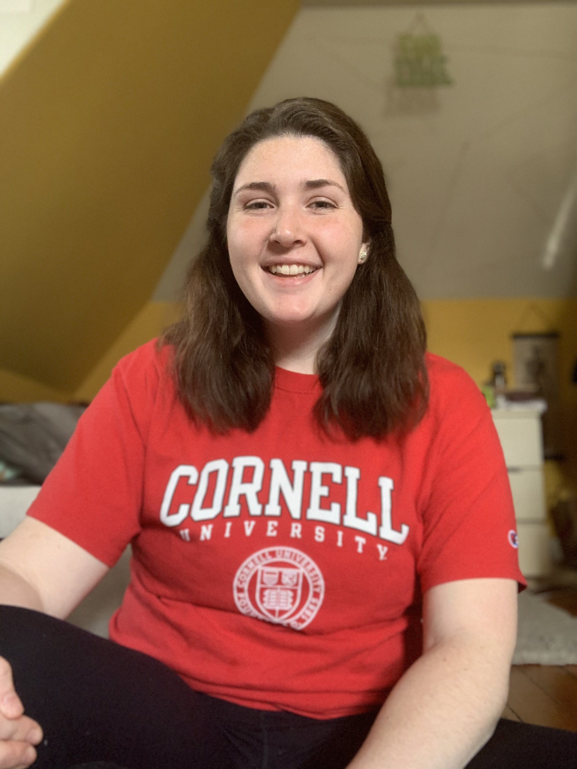 Biological sciences major Kimberly Zullo poses with Cornell t-shirt.