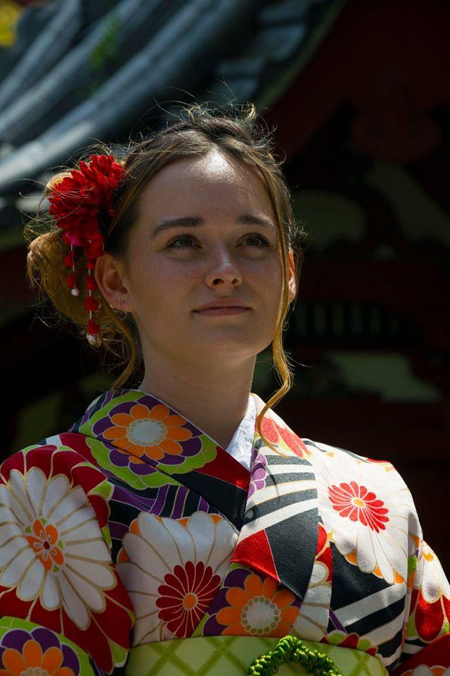 Portrait of English major Molly Worek in a kimono.