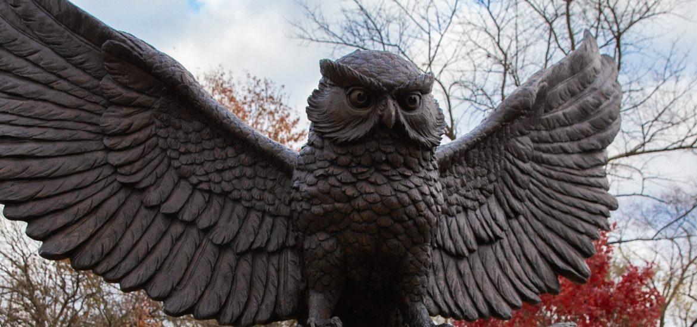 Exterior shot of Rowan owl statue on Rowan's Glassboro campus