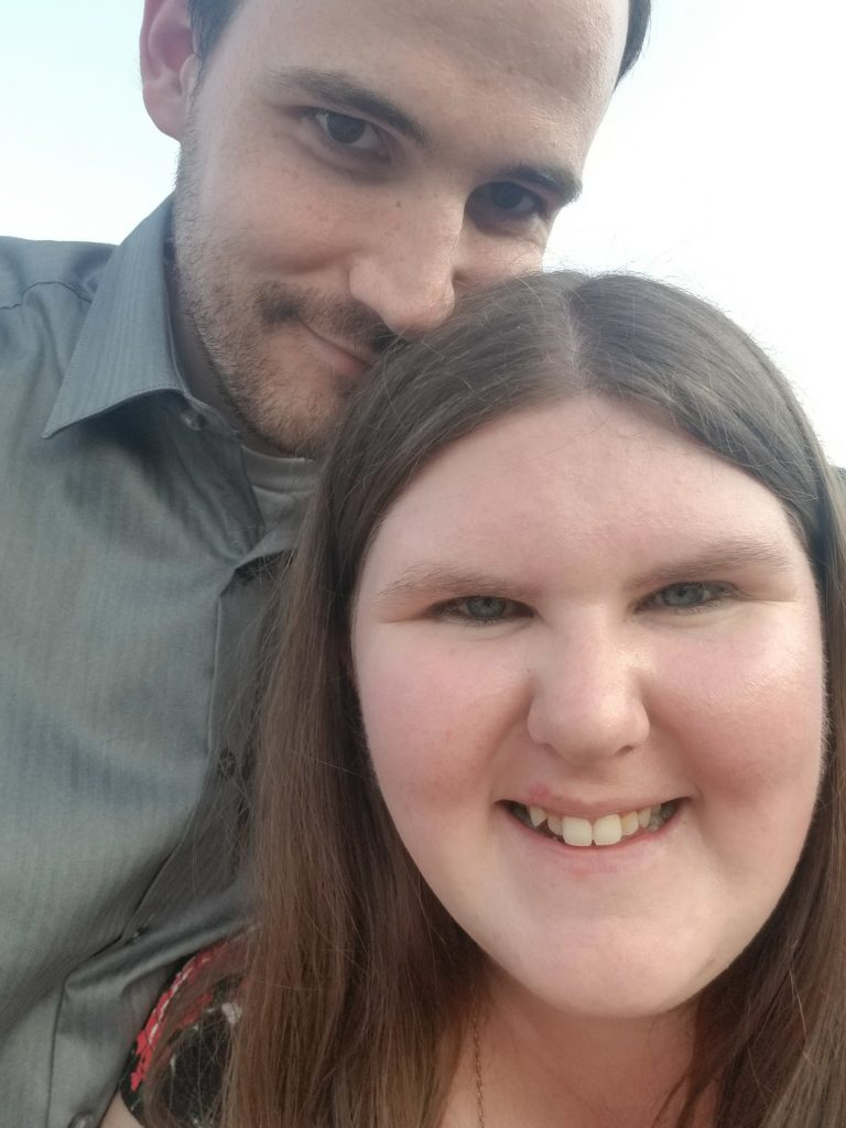 A close up of Sylvia and her fiance.