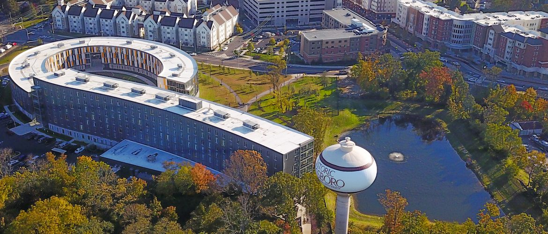Drone photo of Rowan's Glassboro Campus