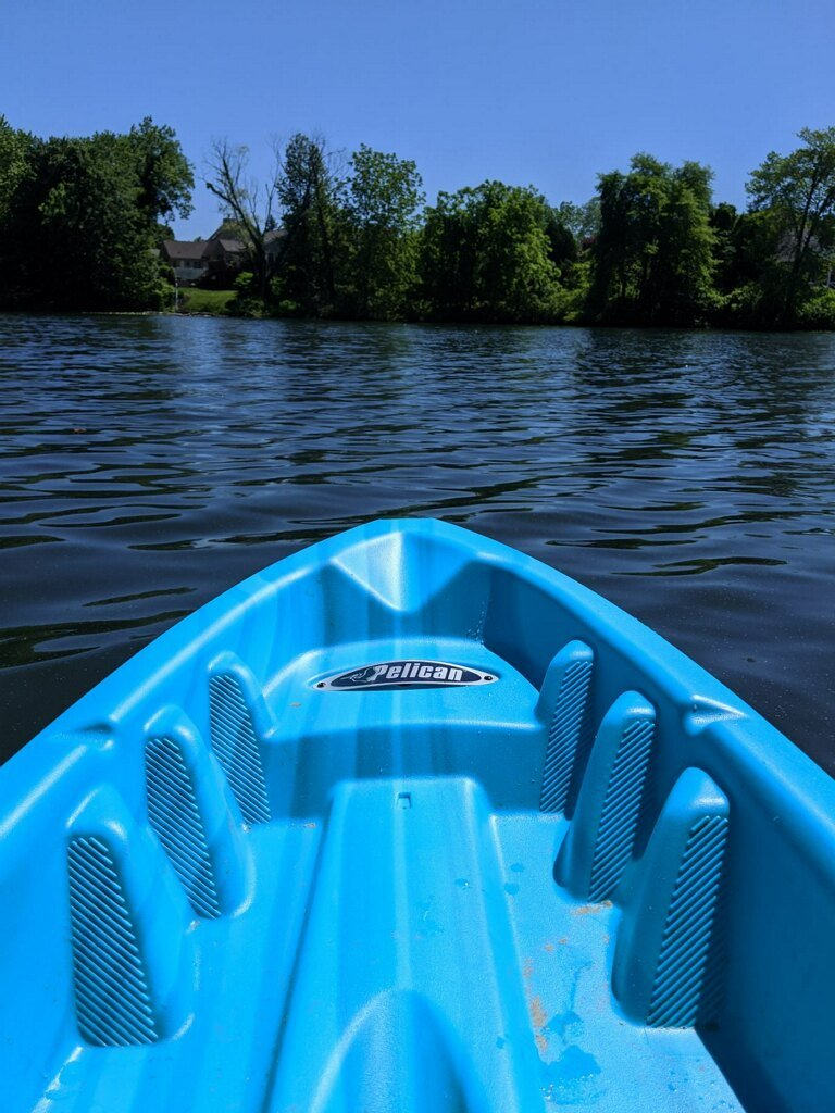 the head of a blue kayak in a lake, facing trees, in Alcyon Park