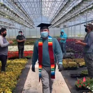 Edgar in a scene from the viral graduation video