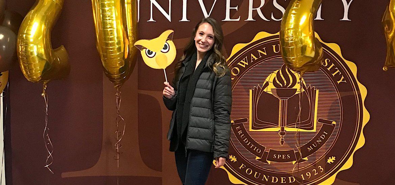 Photo of future Prof Amanda visiting Rowan.